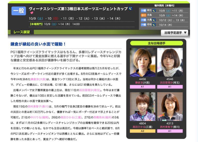 ヴィーナスS第13戦日本スポーツエージェントカップアイキャッチ